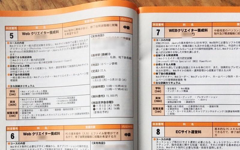 ハローワーク職業訓練相談の一般教育訓練のパンフレットの内容を示す写真