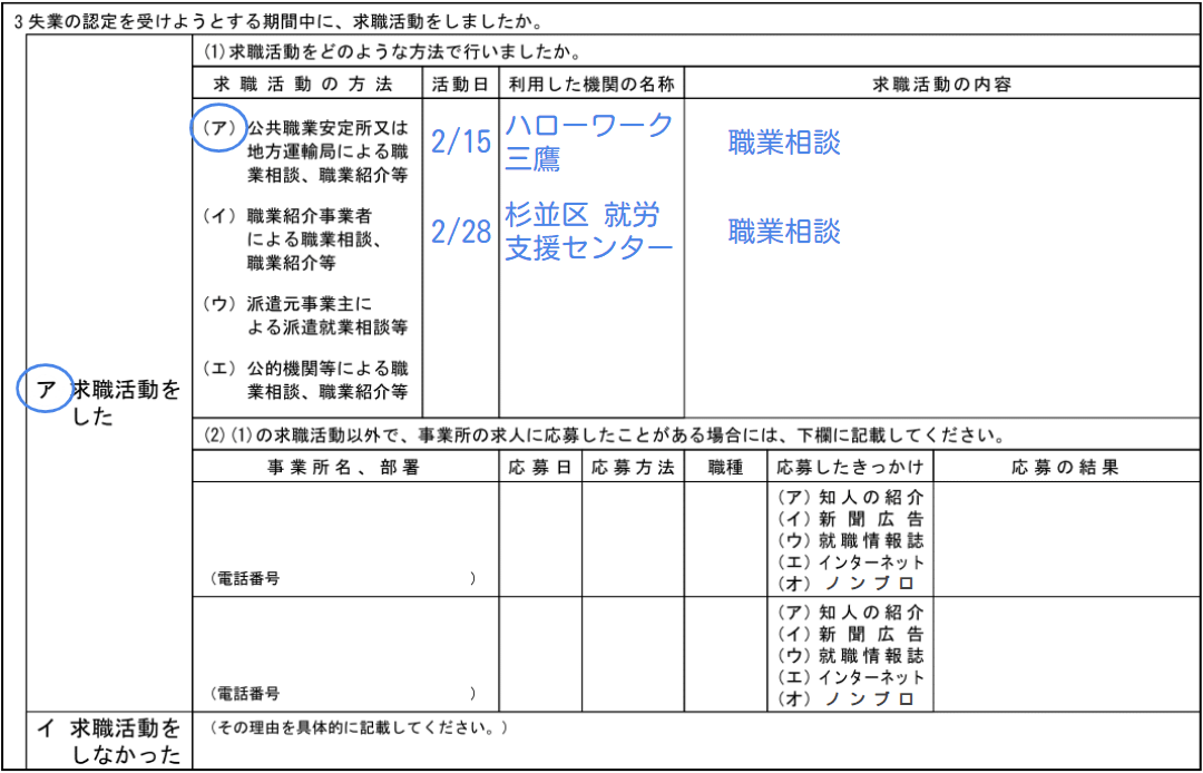 職業相談のみを求職活動実績にする場合の失業認定申告書の記入例を示す画像