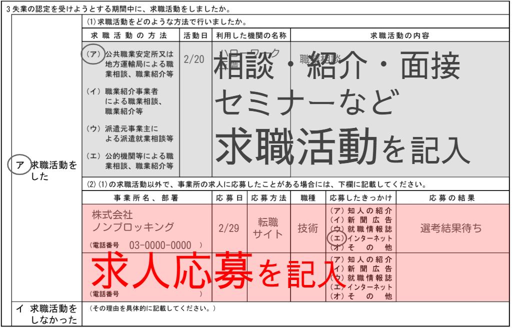 求職活動実績実績の作り方は失業認定申告書の書式によって2通りになることを示す画像